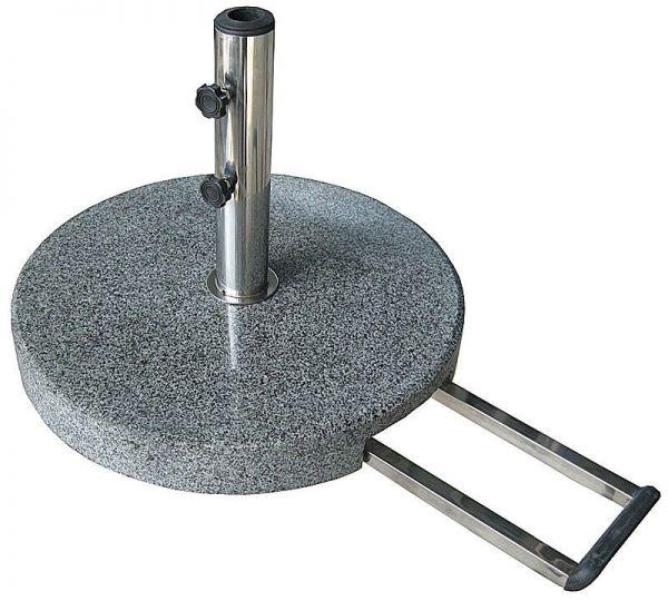 Schirmständer, granit, poliert, rund, grau von Naturstein Geukes