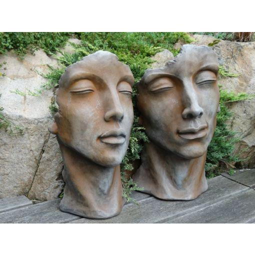 """Gartenfigur Gesicht """"MANN"""" und """"FRAU"""" mit Rosteffekt im Set, klein"""