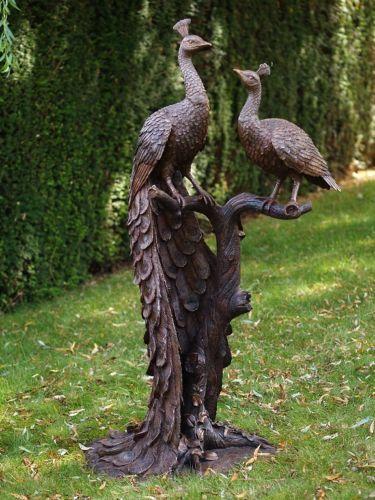 Bronzefigur 2 Pfaue auf Baumstamm