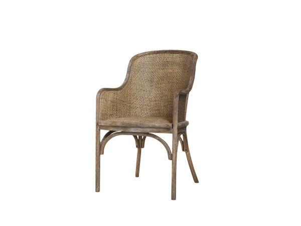 Alter französicher Stuhl mit Geflecht von Chic Antique