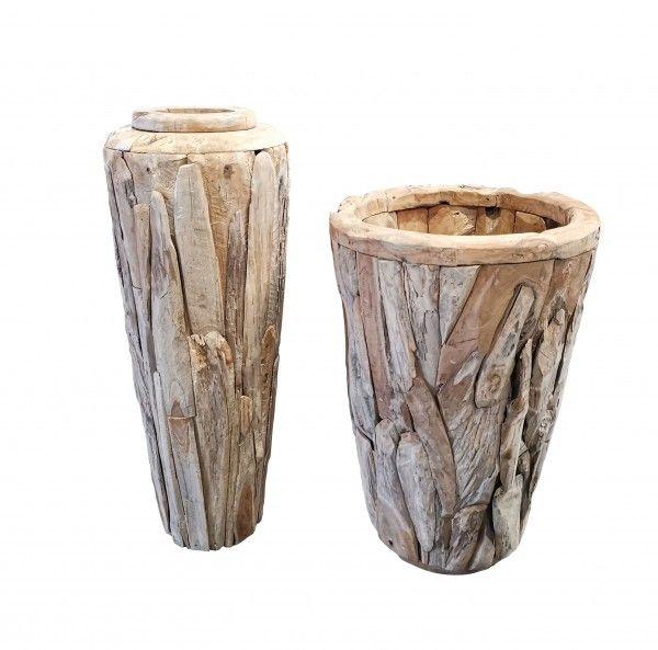 Teakholz Vase H 100 x 70 cm