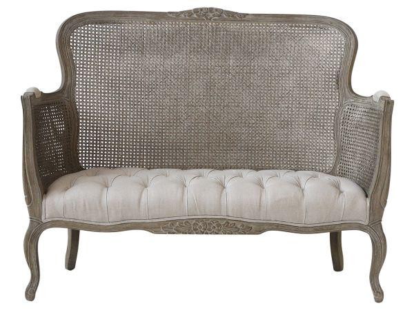 Französiches Sofa mit Geflecht für 2 Personen von Chic Antique
