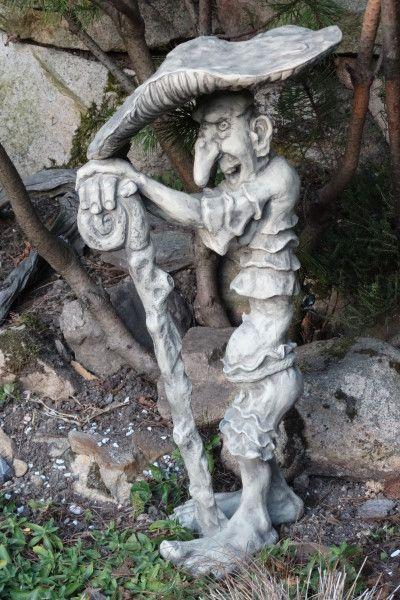 """Gartenfigur Kobold """"Fliegenpilz"""", Steinguss"""