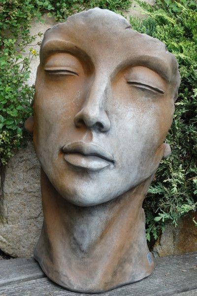 """Gartenfigur Gesicht """"FRAU"""", Steinguss, Rosteffekt, klein"""
