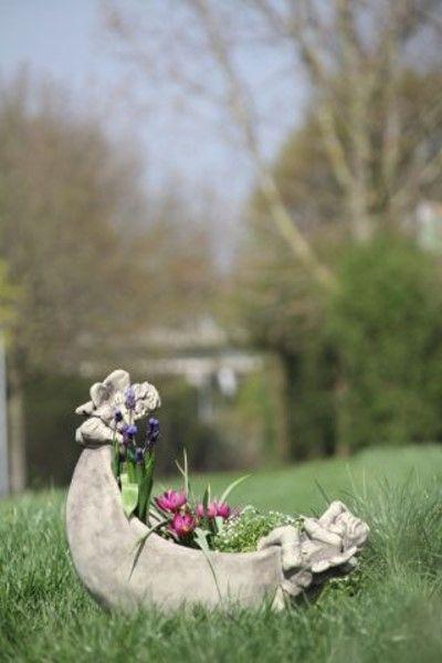 """Gartenfigur Mondschale """"LUNA"""" Steinguss, antik"""