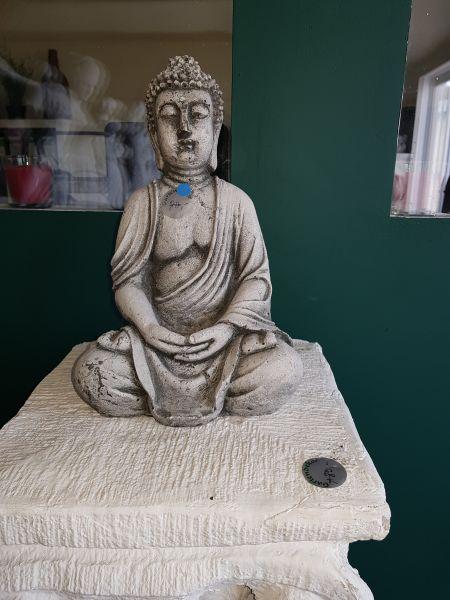 Gartenfigur Buddha klein weiß