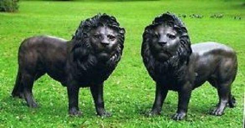 Bronzefigur Löwen Paar