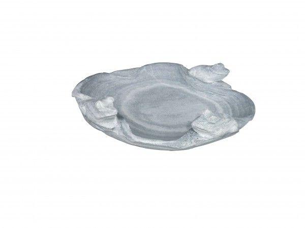 Marmorvogeltränke rund, grau-weiß von Naturstein Geukes