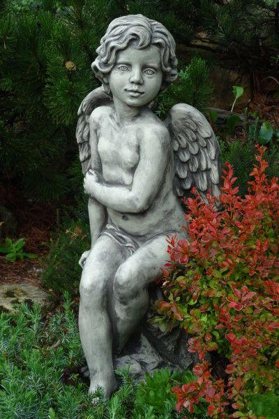 """Gartenfigur Engel """"SAVA"""", sitzend, Steinguss"""