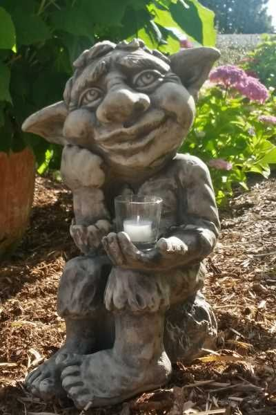 "Gartenfigur Troll ""JORIK"" inkl. CG1-Glas, Steinguss"