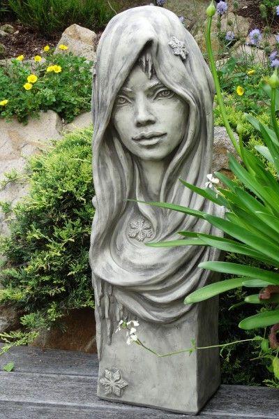 "Gartenfigur Büste Moderne Romantik ""WINTER"", Steinguss"