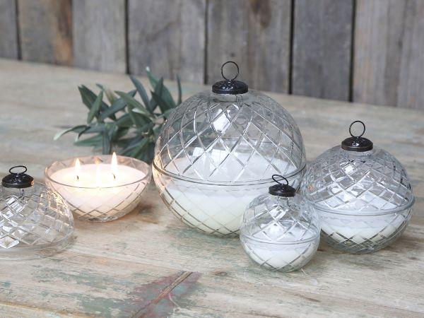 Glas Kugel m. Kerze und Diamantenschliff M von Chic Antique
