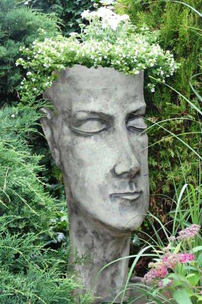 """Garten- und Pflanzgefäß Gesicht """"Frau"""", Steinguss"""