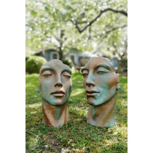 """Gartenfigur Gesicht """"MANN"""" und """"FRAU"""" mit Kupfereffekt im Set, klein"""