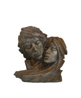 Gartenfigur Gesichterpaar, Steinguss, Edition Oxid