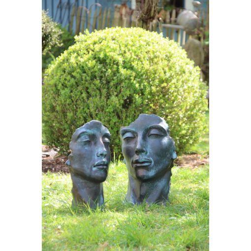 """Gartenfigur Gesicht """"MANN"""" und """"FRAU"""" im Bronze Stil im Set, klein"""