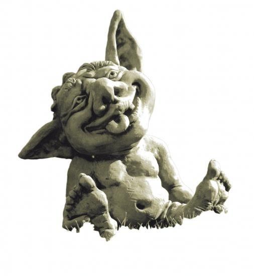 "Gartenfigur Troll-Baby ""FIN"", Steinguss"