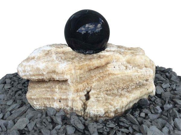 Onyx-Findling mit schwimmender Kugel dunkel Komplett Set