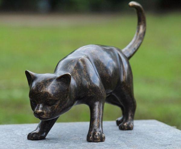 Bronzefigur Katze braun groß