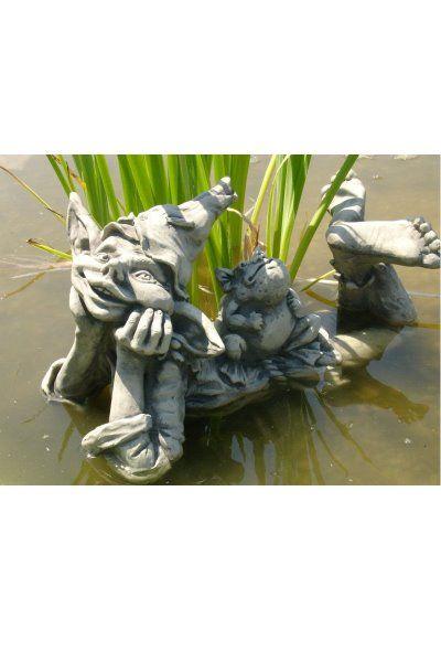 """Gartenfigur Elfe """"HOLLY"""" mit Frosch """"MAX"""", liegend, Steinguss"""