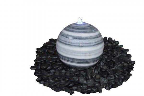 Marmor-Kugel grau-weiß, poliert