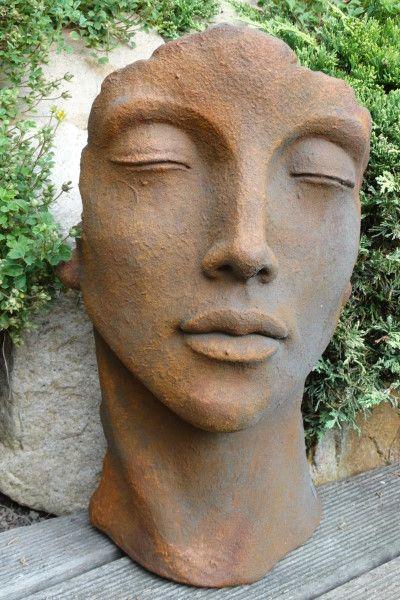 """Gartenfigur Gesicht """"FRAU"""", Steinguss, Edition Oxid, klein"""