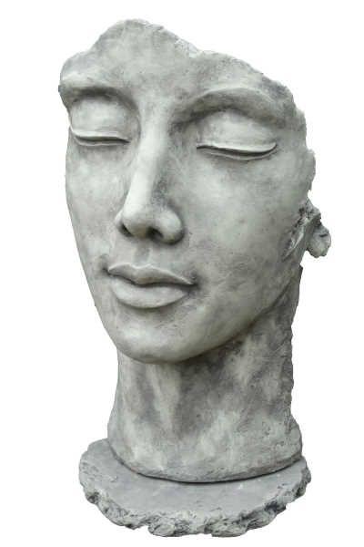 """Gartenfigur Gesicht """"Frau"""", inkl. Platte zur Montage,Steinguss"""