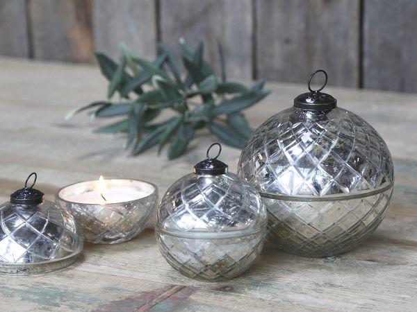 Glas Kugel m. Kerze und Diamantenschliff von Chic Antique