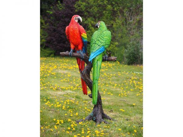 Bronzefigur 2 Gefärbte Papageien auf Stamm