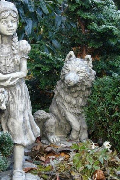 """Gartenfigur Gebrüder Grimm """"WOLF"""", Steinguss"""