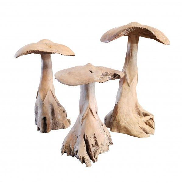 Teakholz Pilze H 30 cm