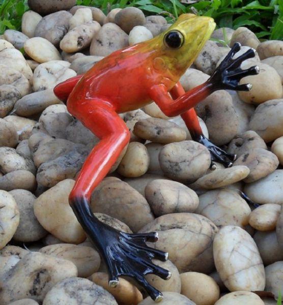 Bronzefigur Regenwaldfrosch Rot