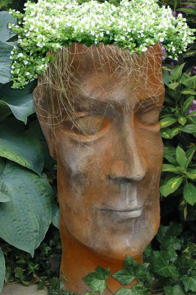 """Garten- und Pflanzgefäß Gesicht """"Mann"""", Rosteffekt"""