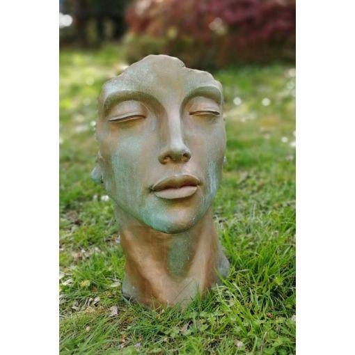 """Gartenfigur Gesicht """"FRAU"""", Steinguss, Kupfereffekt, klein"""