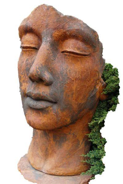 """Gartenfigur Gesicht """"Frau"""", inkl. Platte z. Montage,Edition Ox"""