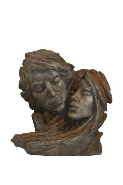 Gartenfigur Gesichterpaar, Steinguss, Rosteffekt