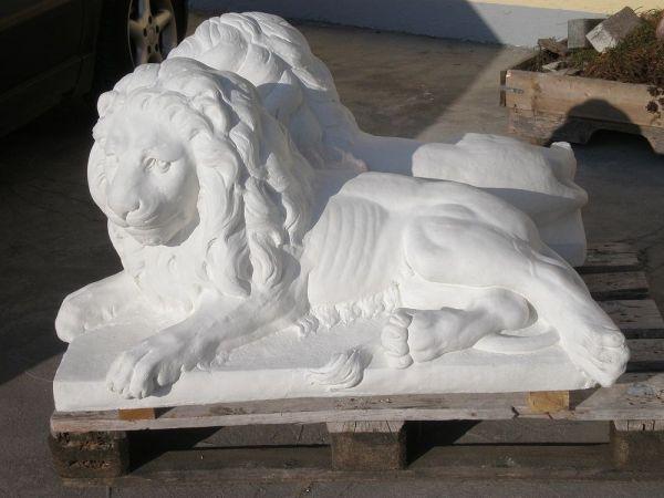 Gartenfigur Löwenpärchen 0110 weiß