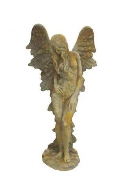 "Gartenfigur Engelfrau stehend ""SHEKINAH"", Rosteffekt"
