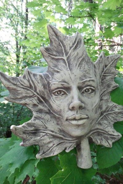 """Gartenfigur Blatt """"AHORN"""", Steinguss"""