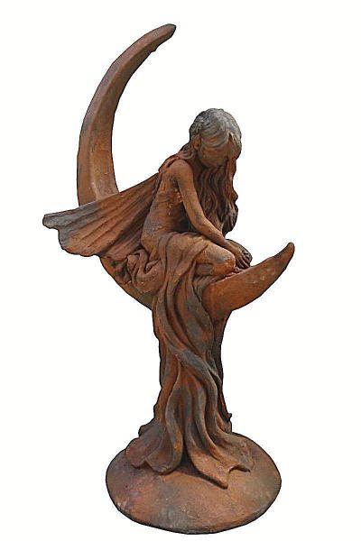 """Gartenfigur Mondfee """"LUNARIA"""", Steinguss, Edition Oxid"""