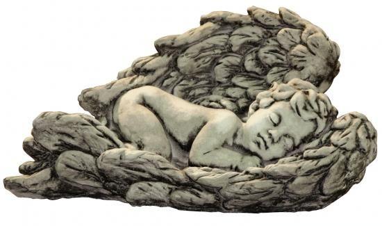 """Gartenfigur Baby in Flügel liegend """"MINER"""", Steinguss"""