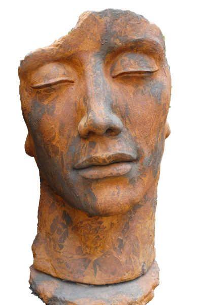 """Gartenfigur Gesicht """"Mann"""", inkl. Platte z. Montage,Edition Ox"""