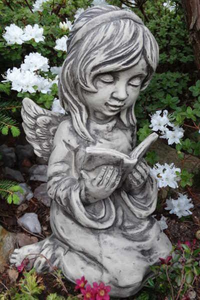 """Gartenfigur Engel """"ARELLA"""", mit Buch, Steinguss"""