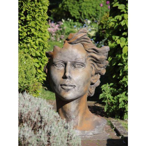 "Gartenfigur Gesicht ""FRAU"", Rosteffekt, Medium"