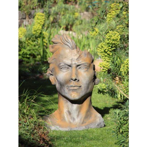 "Gartenfigur Gesicht ""MANN"", Rosteffekt, Medium"