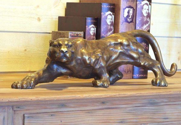 Bronzefigur Lauernder Panther