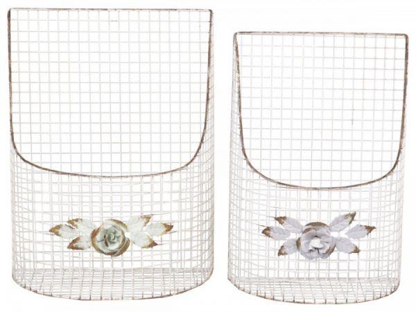 Franz. Netskorb mit Blumendekor Set von 2 von Chic Antique