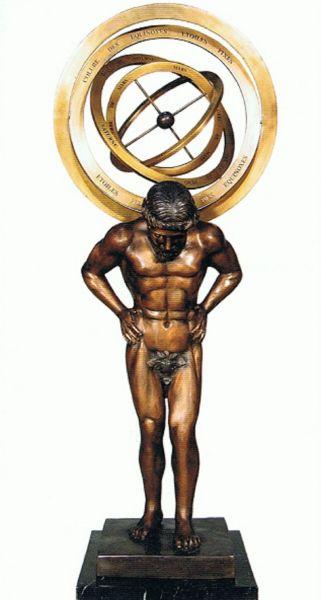 Bronzefigur Mann mit Sonnenuhr B 74365