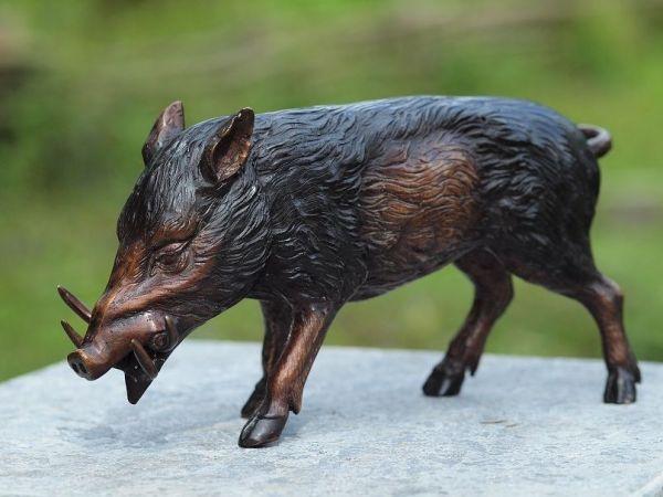 Bronzefigur Wildschwein klein