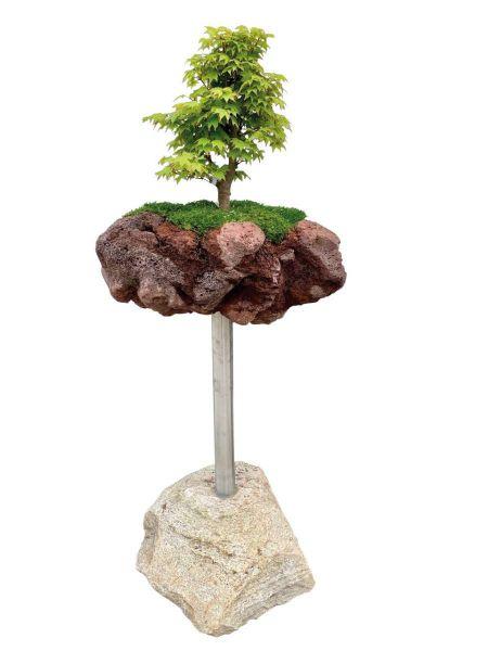 Bonsai-Minigarten Kategorie 1 Edelstahlsäule von Naturstein Geukes